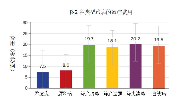 不同类型蹄病的成本分析